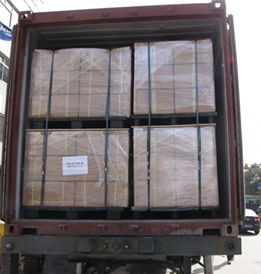 Ocean shipping Container Packed with Banded Pallets