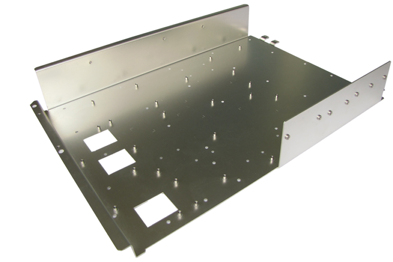 Sheet metal Fabricated adapter plate with PEM made from a CNC Turret Punch Press and CNC Press Brake