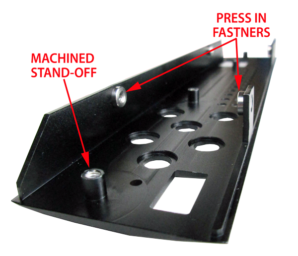 Extruded Black Anodized Face Plate with PEM Fasteners and Machined Stand-Offs